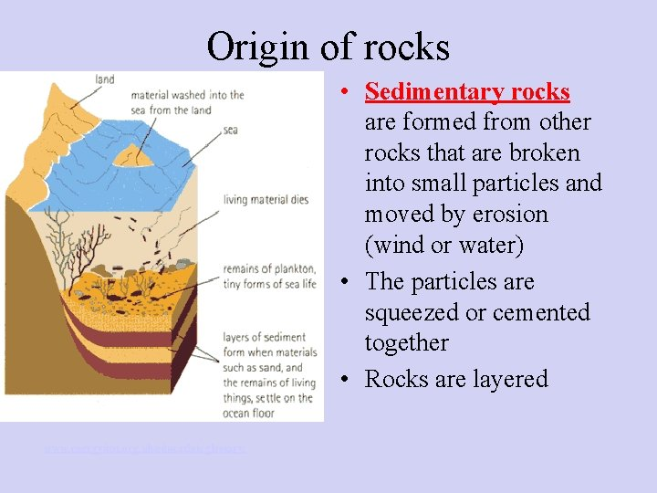 Origin of rocks • Sedimentary rocks are formed from other rocks that are broken