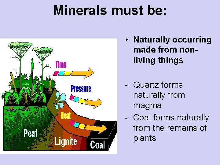 Minerals must be: • Naturally occurring made from nonliving things - Quartz forms naturally