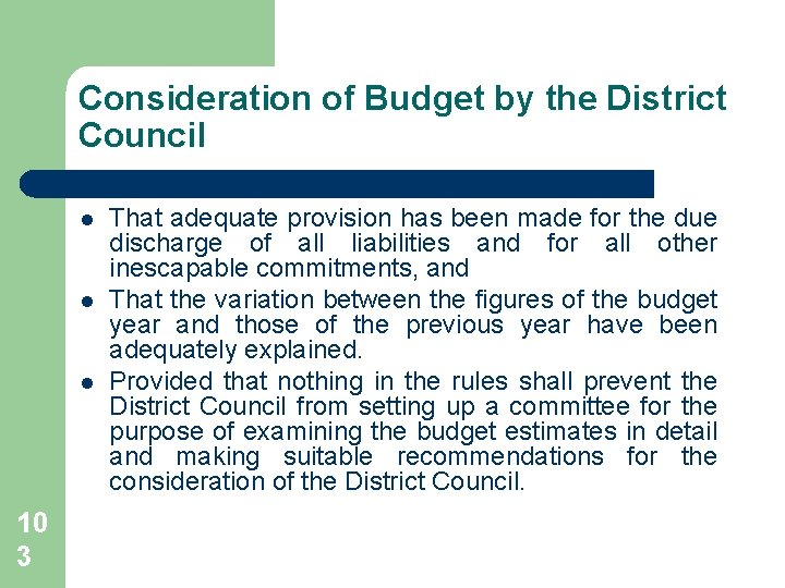 Consideration of Budget by the District Council l 10 3 That adequate provision has