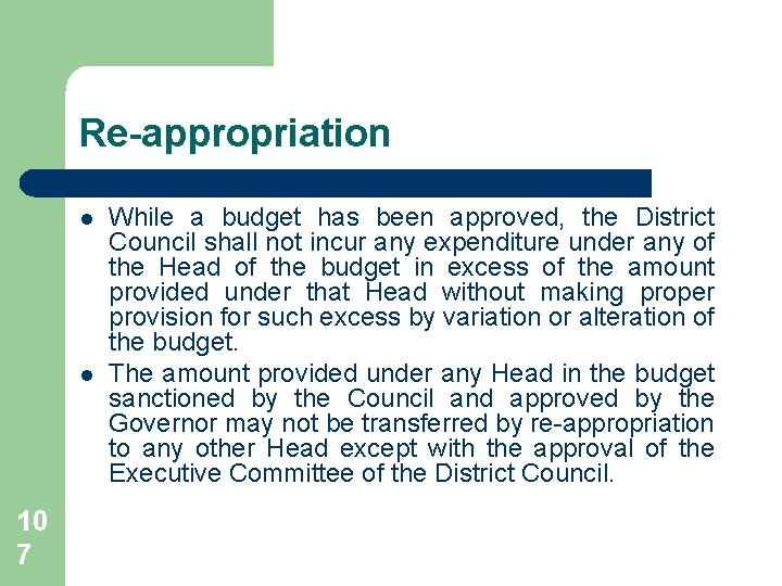 Re-appropriation l l 10 7 While a budget has been approved, the District Council