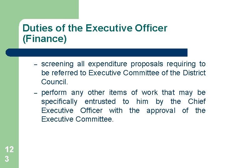 Duties of the Executive Officer (Finance) – – 12 3 screening all expenditure proposals