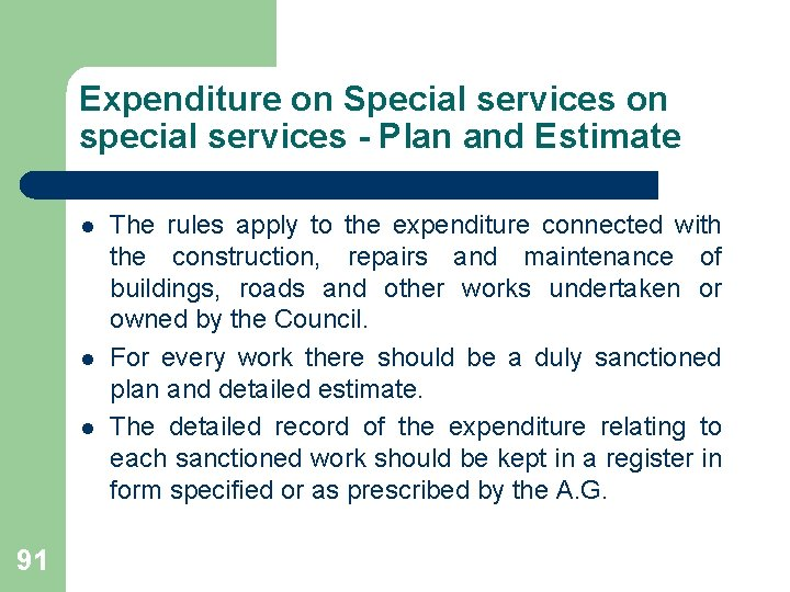 Expenditure on Special services on special services - Plan and Estimate l l l