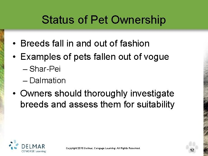 Status of Pet Ownership • Breeds fall in and out of fashion • Examples