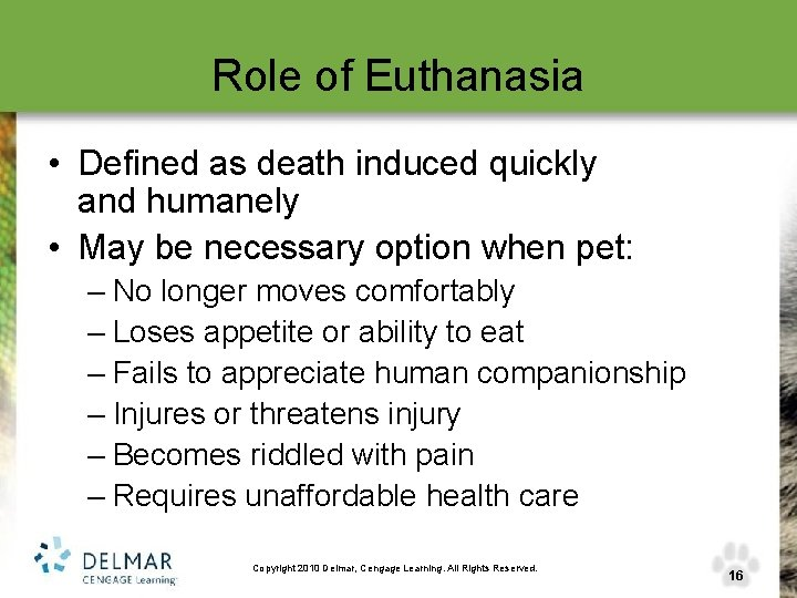 Role of Euthanasia • Defined as death induced quickly and humanely • May be