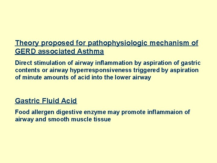 Theory proposed for pathophysiologic mechanism of GERD associated Asthma Direct stimulation of airway inflammation