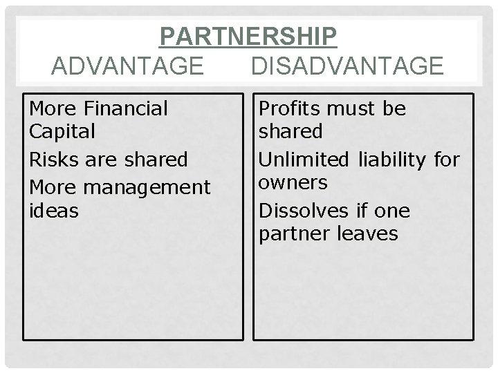 PARTNERSHIP ADVANTAGE DISADVANTAGE More Financial Capital Risks are shared More management ideas Profits must