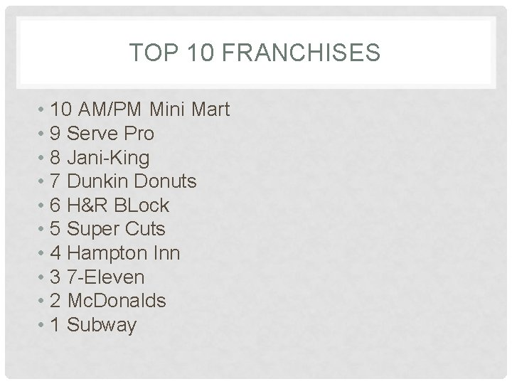 TOP 10 FRANCHISES • 10 AM/PM Mini Mart • 9 Serve Pro • 8