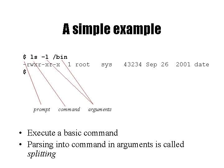 A simple example $ ls –l /bin -rwxr-xr-x 1 root $ prompt command sys