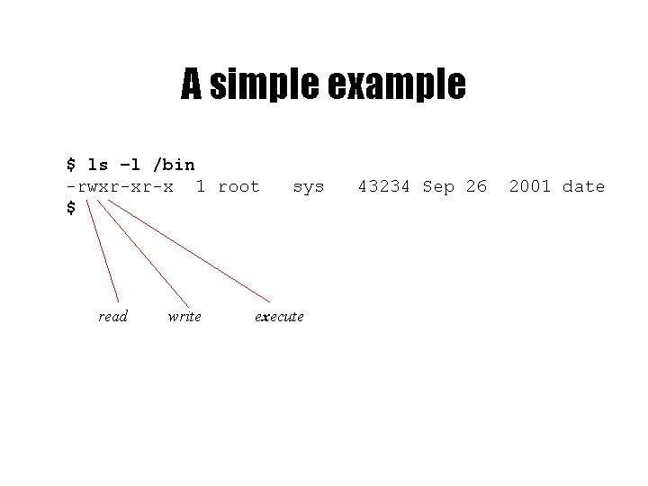 A simple example $ ls –l /bin -rwxr-xr-x 1 root $ read write sys