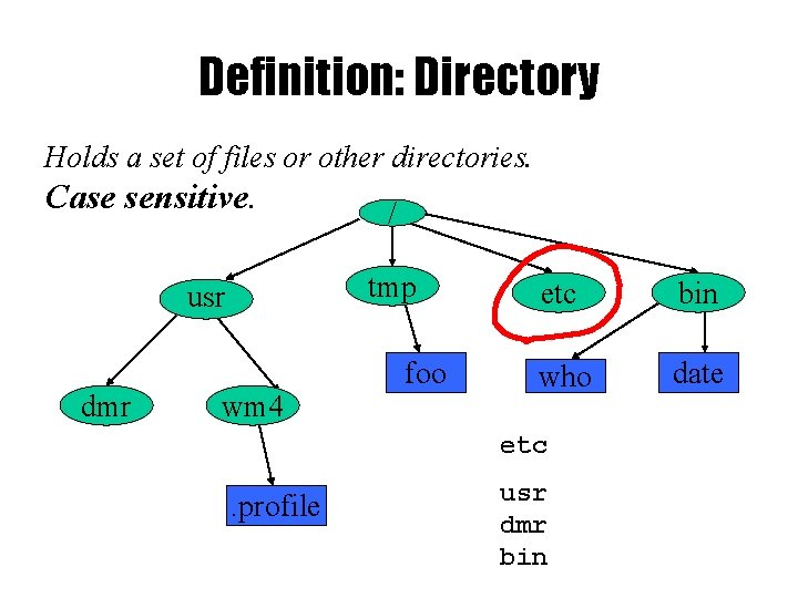 Definition: Directory Holds a set of files or other directories. Case sensitive. tmp usr