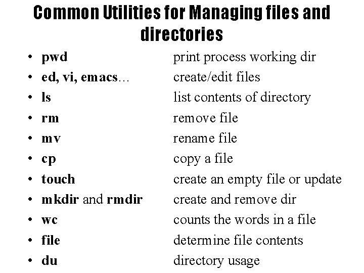 Common Utilities for Managing files and directories • • • pwd ed, vi, emacs…
