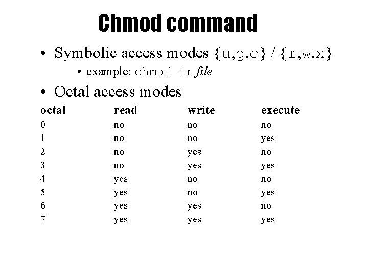 Chmod command • Symbolic access modes {u, g, o} / {r, w, x} •
