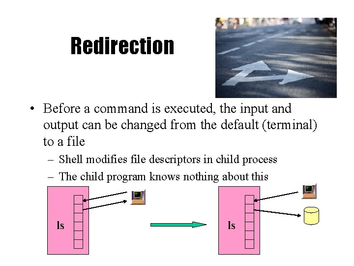 Redirection • Before a command is executed, the input and output can be changed