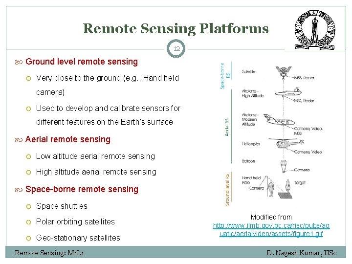 Remote Sensing Platforms 12 Ground level remote sensing Very close to the ground (e.