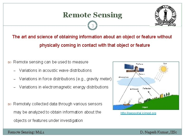 Remote Sensing 3 The art and science of obtaining information about an object or