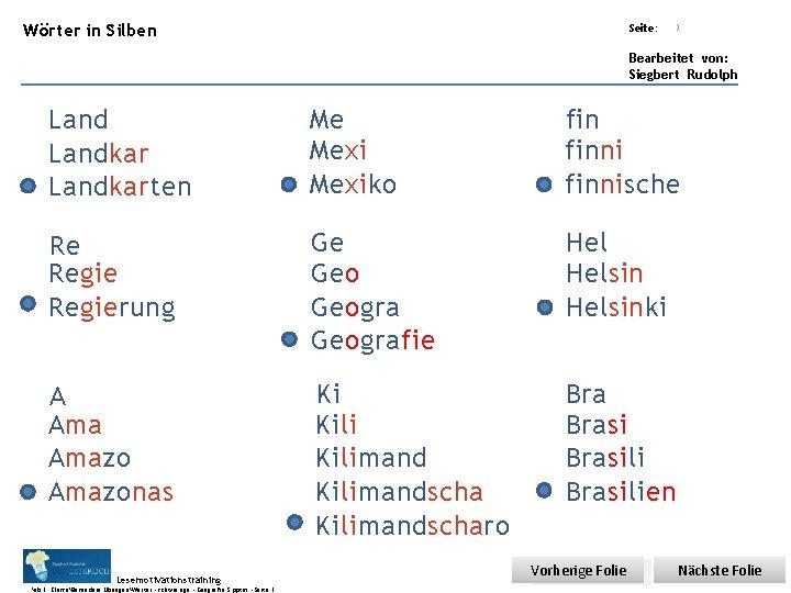Übungsart: Wörter in Silben Seite: Titel: Quelle: 3 Bearbeitet von: Siegbert Rudolph Landkarten Me