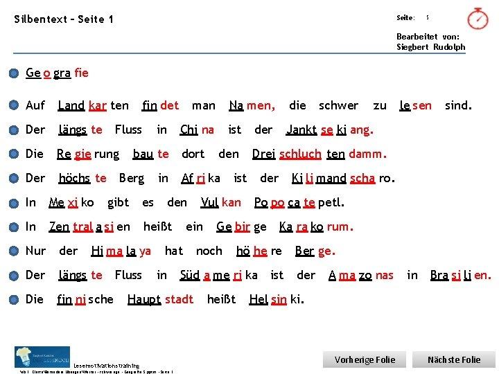 Übungsart: Silbentext – Seite 1 Seite: 5 Bearbeitet von: Siegbert Rudolph Ge o gra