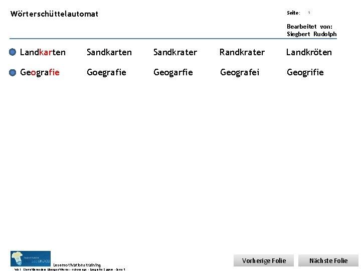 Übungsart: Wörterschüttelautomat Seite: Titel: Quelle: 9 Bearbeitet von: Siegbert Rudolph Landkarten Sandkrater Randkrater Landkröten