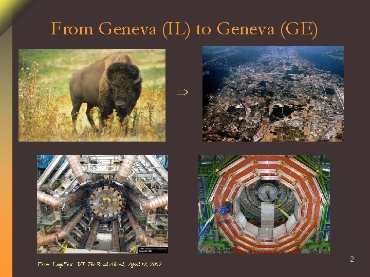From Geneva (IL) to Geneva (GE) From Loop. Fest VI: The Road Ahead, April