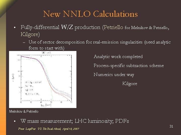New NNLO Calculations • Fully-differential W/Z production (Petriello for Melnikov & Petriello, Kilgore) –