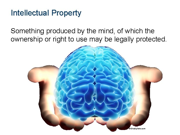 Intellectual Property Something produced by the mind, of which the ownership or right to