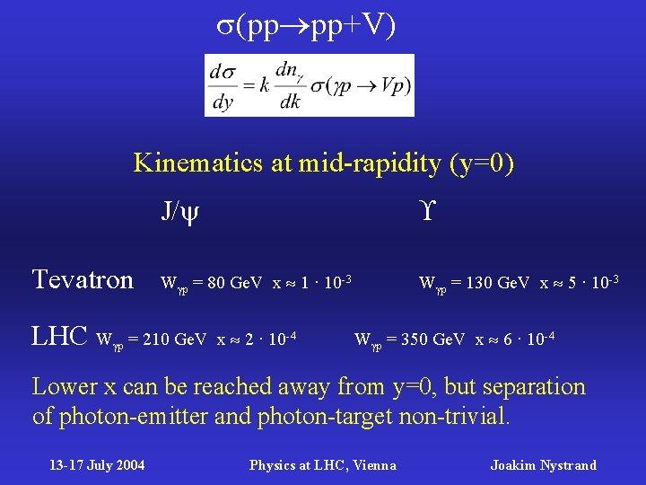 (pp pp+V) Kinematics at mid-rapidity (y=0) Tevatron J/ W p = 80 Ge.