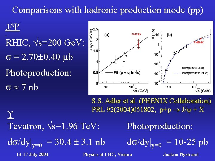 Comparisons with hadronic production mode (pp) J/ RHIC, s=200 Ge. V: = 2. 70