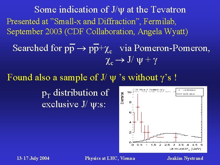 """Some indication of J/ at the Tevatron Presented at """"Small-x and Diffraction"""", Fermilab, September"""