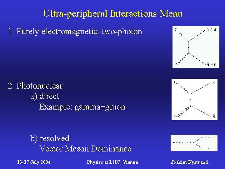 Ultra-peripheral Interactions Menu 1. Purely electromagnetic, two-photon 2. Photonuclear a) direct Example: gamma+gluon b)