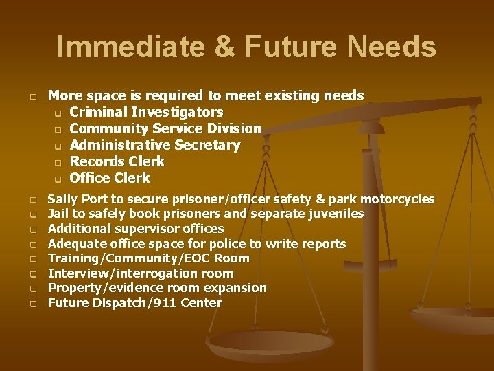 Immediate & Future Needs q q q q q More space is required to