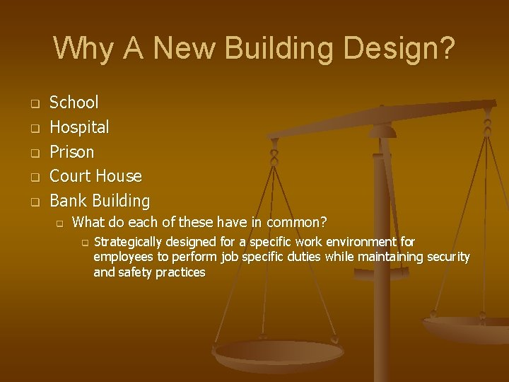 Why A New Building Design? q q q School Hospital Prison Court House Bank