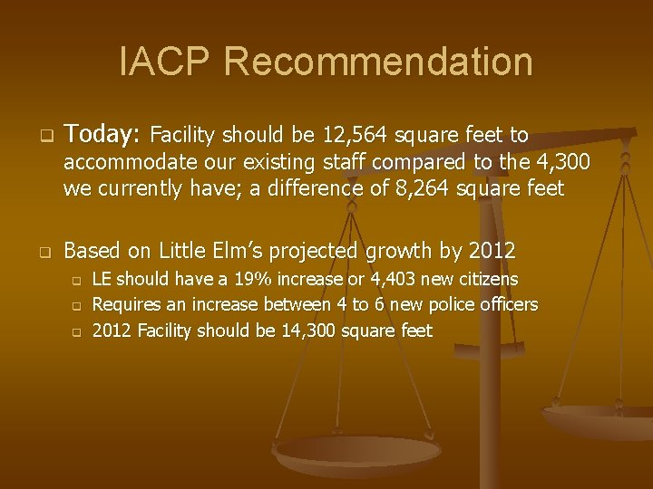 IACP Recommendation q Today: Facility should be 12, 564 square feet to accommodate our