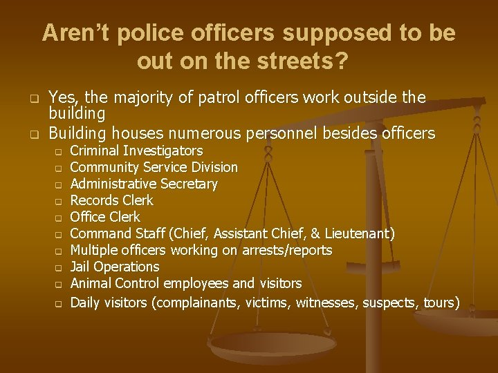 Aren't police officers supposed to be out on the streets? q q Yes, the