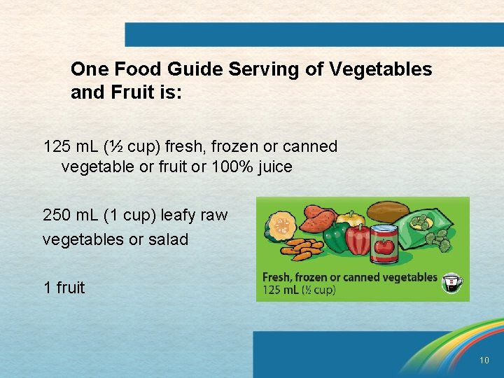 One Food Guide Serving of Vegetables and Fruit is: 125 m. L (½ cup)