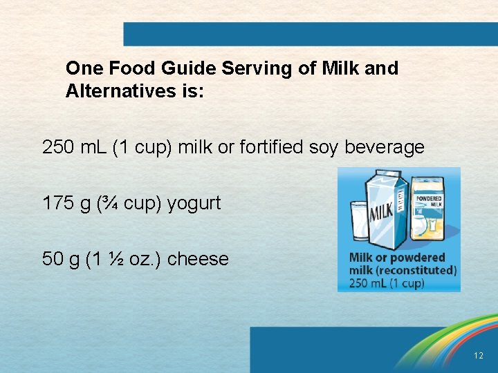 One Food Guide Serving of Milk and Alternatives is: 250 m. L (1 cup)