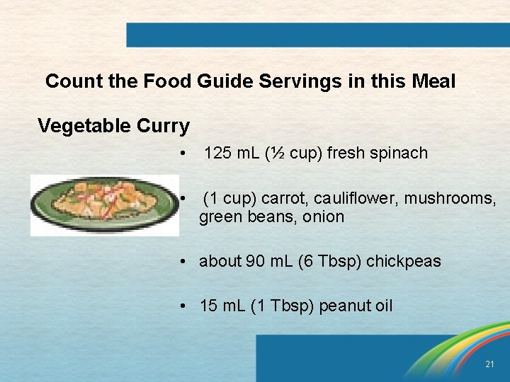 Count the Food Guide Servings in this Meal Vegetable Curry • 125 m. L