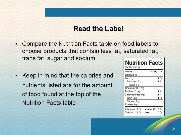 Read the Label • Compare the Nutrition Facts table on food labels to choose