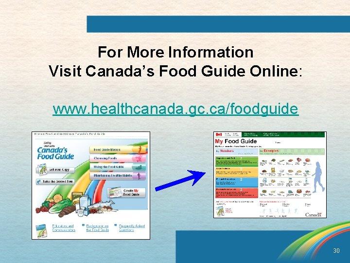 For More Information Visit Canada's Food Guide Online: www. healthcanada. gc. ca/foodguide 30