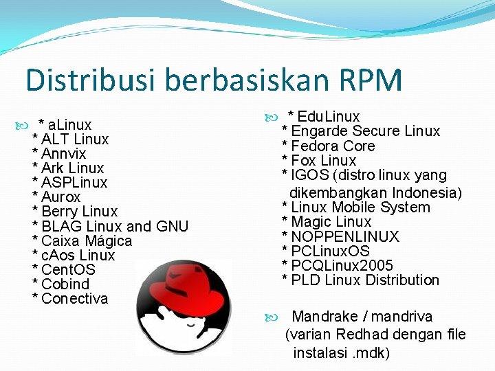 Distribusi berbasiskan RPM * a. Linux * ALT Linux * Annvix * Ark Linux