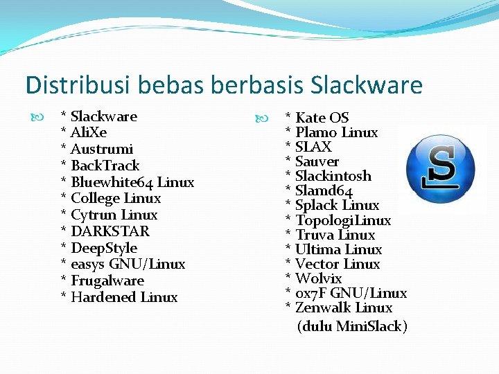 Distribusi bebas berbasis Slackware * Ali. Xe * Austrumi * Back. Track * Bluewhite