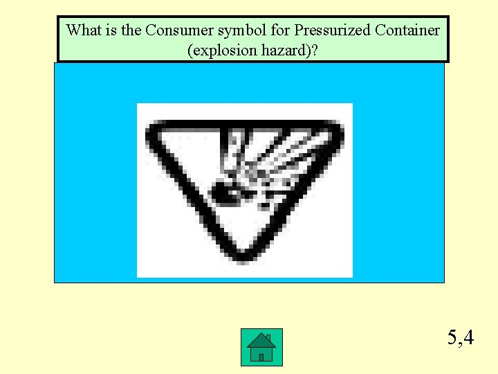 What is the Consumer symbol for Pressurized Container (explosion hazard)? 5, 4