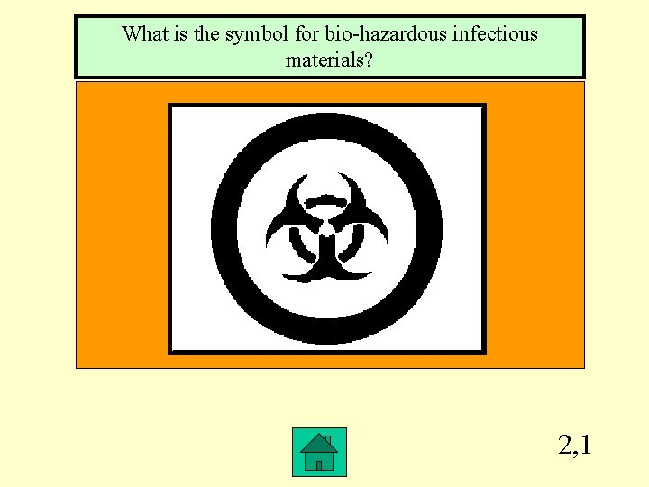 What is the symbol for bio-hazardous infectious materials? 2, 1