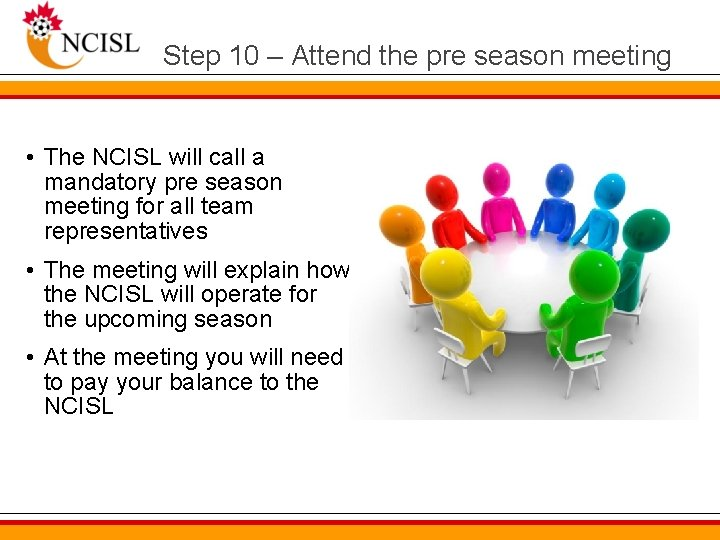 Step 10 – Attend the pre season meeting • The NCISL will call a