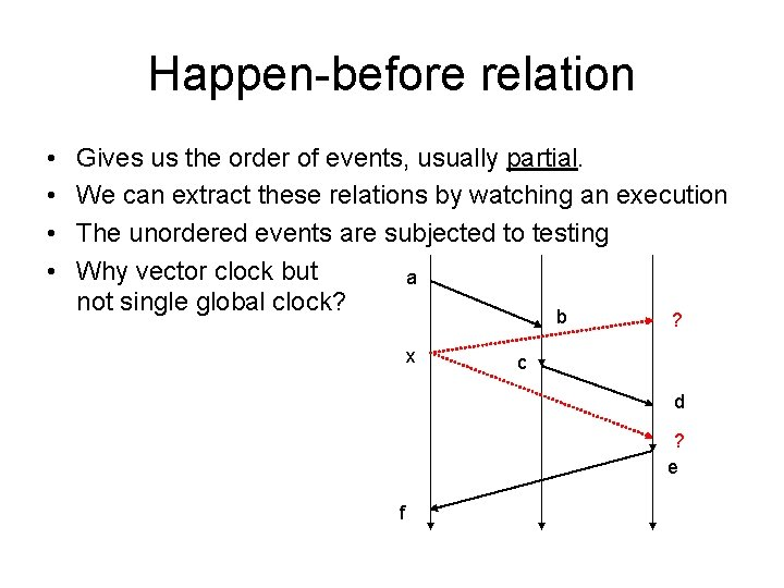 Happen-before relation • • Gives us the order of events, usually partial. We can