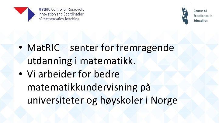 • Mat. RIC – senter for fremragende utdanning i matematikk. • Vi arbeider