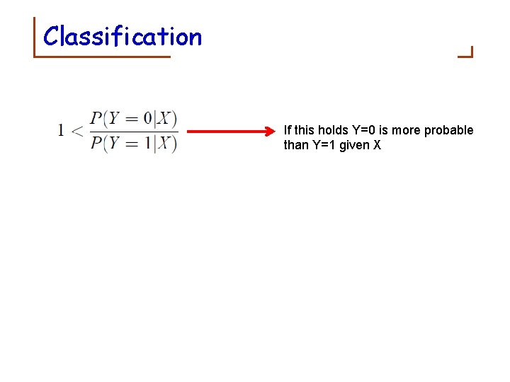 Classification If this holds Y=0 is more probable than Y=1 given X