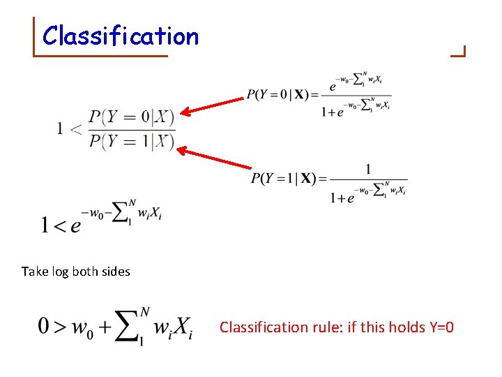 Classification Take log both sides Classification rule: if this holds Y=0