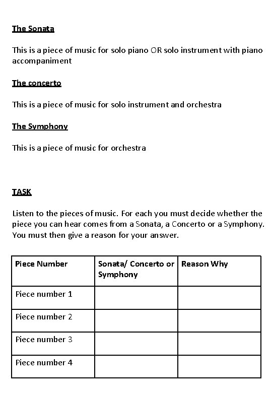 The Sonata This is a piece of music for solo piano OR solo instrument