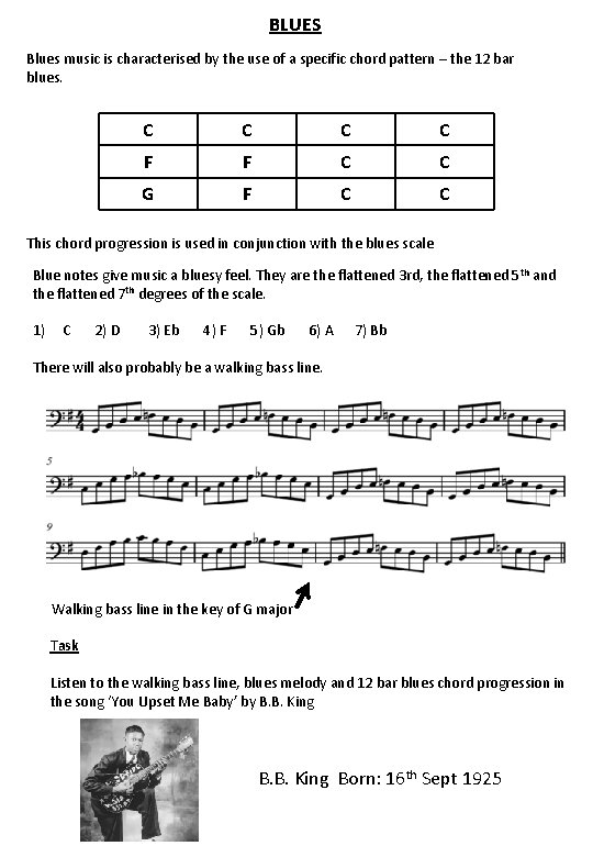 BLUES Blues music is characterised by the use of a specific chord pattern –