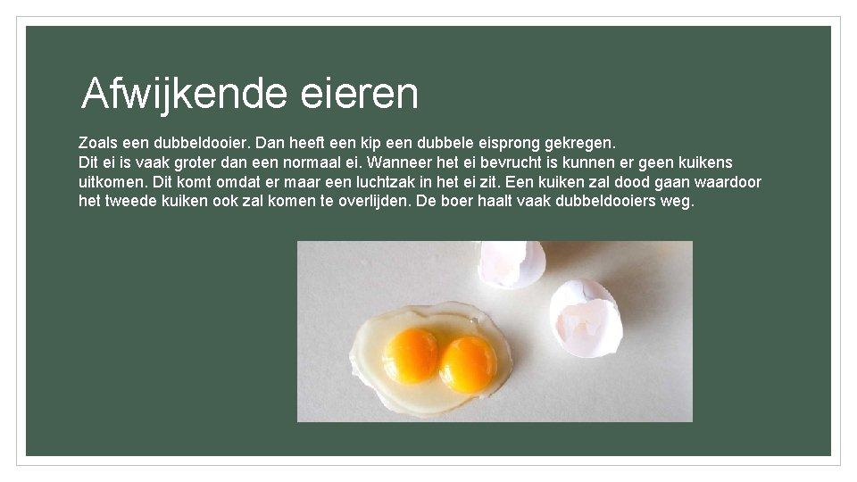 Afwijkende eieren Zoals een dubbeldooier. Dan heeft een kip een dubbele eisprong gekregen. Dit